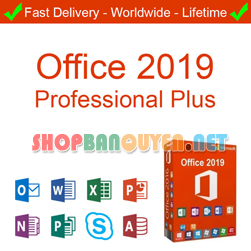 Key Microsoft Office 2019 Pro Plus 32/64 BIT bản quyền vĩnh viễn