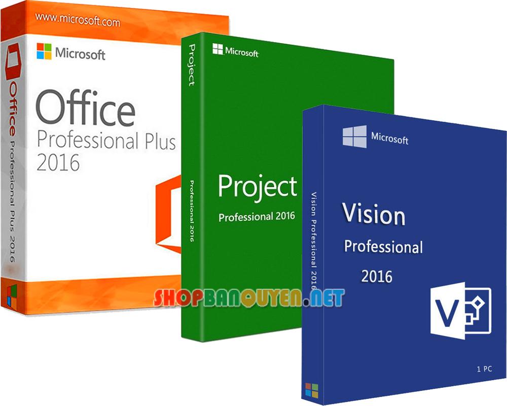 Combo key Office 2016 Visio 2016 Project 2016 bản quyền vĩnh viễn