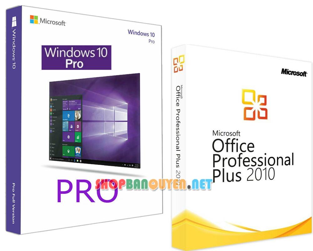 Combo key Windows 10 Office 2010 bản quyền vĩnh viễn