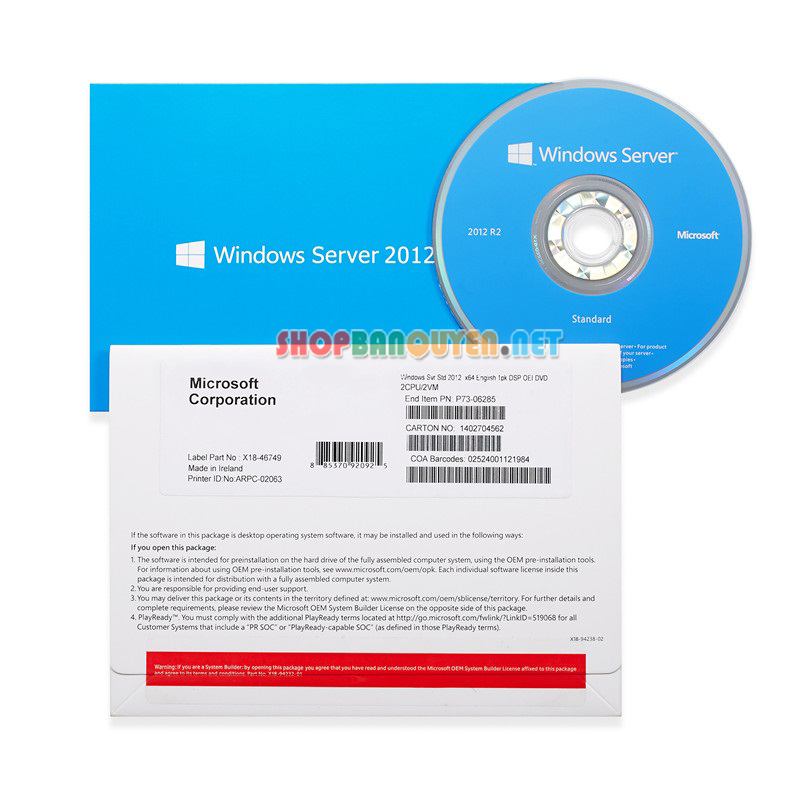 Windows Svr Std 2012 R2 64Bit English 1pk DSP OEI DVD 16 Core