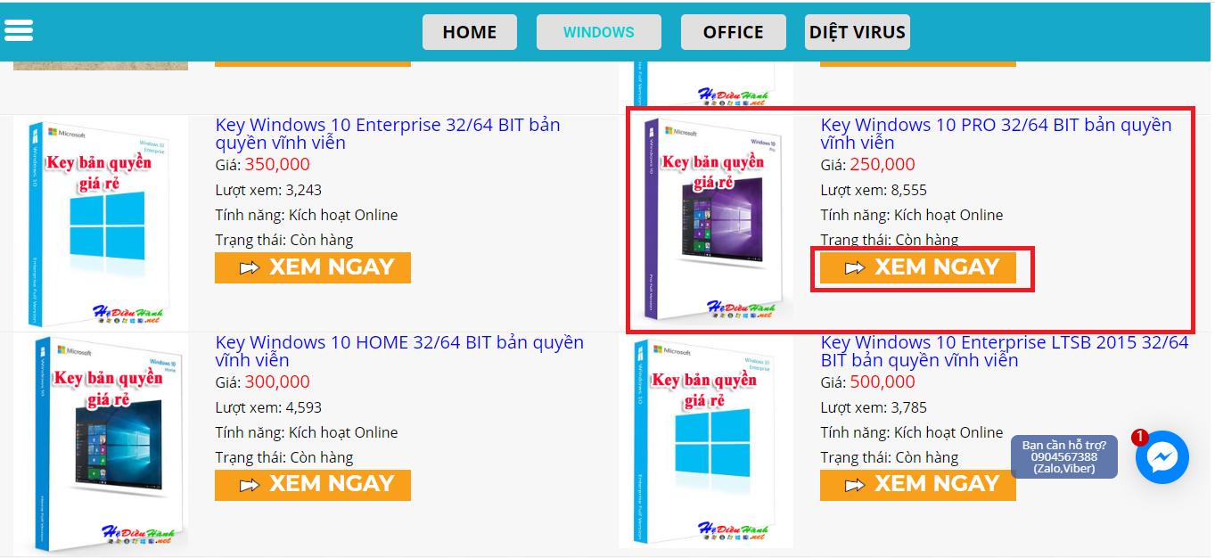 Hướng dẫn mua Key bản quyền Windows 10 8.1 7, Office online cực đơn giản